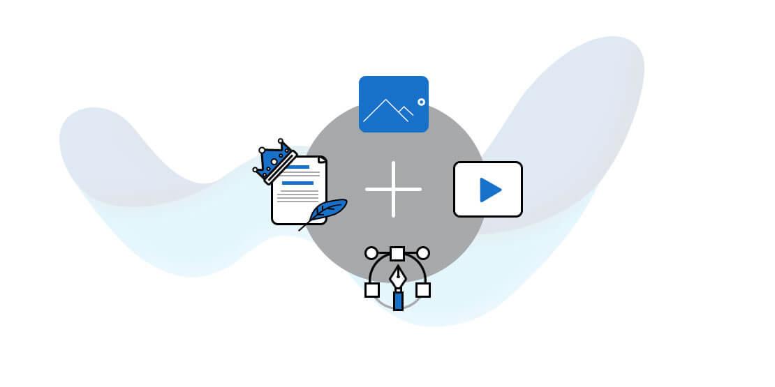 писане на текст лого инфографики мултимедия